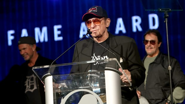 Drummer Hal Blaine attending the NAMM Tec Awards at the Anaheim Hilton on January 24th, 2014, in Anaheim, California.
