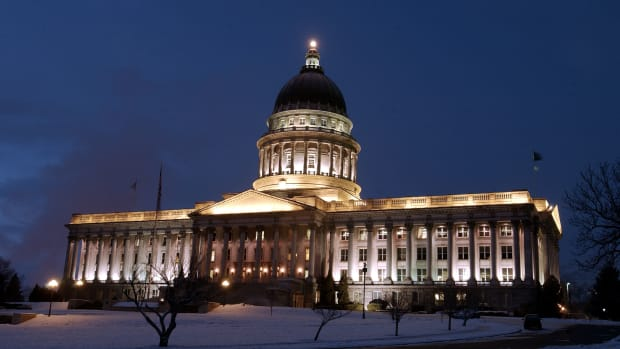 Lights illuminate the Utah State Capitol on January 15th, 2002, in Salt Lake City ahead of the 2002 Winter Olympic Games.