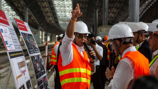 Thai Prime Minister General Prayuth Chan-ocha visits the construction site for the Bang Sue Central Station, the site of Bangkok's new railway transport hub, on March 20th, 2019, in Bangkok, Thailand. The Palang Pracharath Party has nominated Prayuth as its candidate for prime minister for the general election to be held on Sunday, March 24th, 2019.