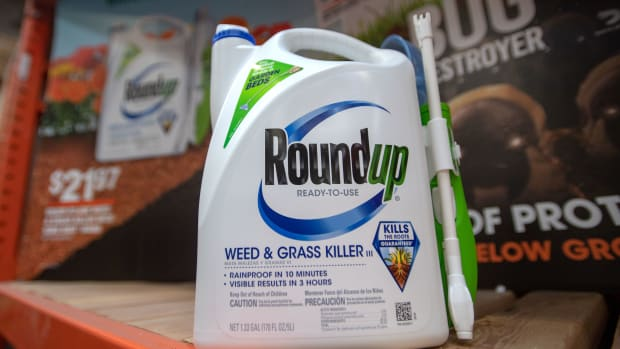 Roundup products are seen for sale at a hardware store in San Rafael, California, on July 9th, 2018.
