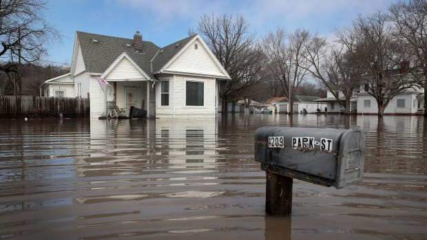 A home sits in floodwater on March 20th, 2019, in Hamburg, Iowa.