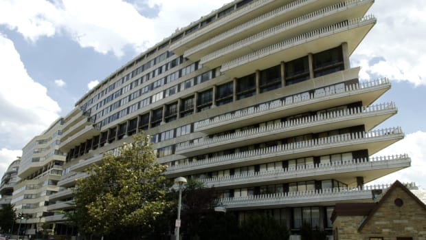 The Watergate complex in Washington, D.C., is pictured in 2002. In 1972, burglars used eavesdropping bugs to listen in on the Democratic National Committee with offices in the Watergate by setting up shop in the nearby Howard Johnson Hotel. They were caught in the act, with the scandal leading up to the resignation of then-President Richard Nixon.