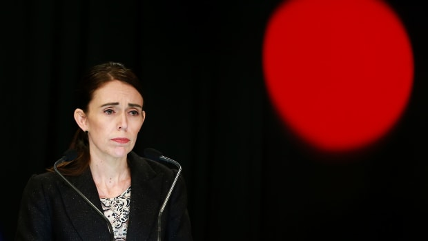 Prime Minister Jacinda Ardern speaks to media during a press conference at New Zealand's parliament on March 21st, 2019, in Wellington, New Zealand. Ardern announced Thursday that New Zealand will ban all military-style semi-automatics and assault rifles.