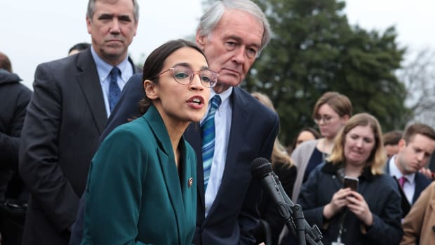 Representative Alexandria Ocasio-Cortez (D-New York) and and Senator Ed Markey (D-Massachusetts) speak on the Green New Deal.