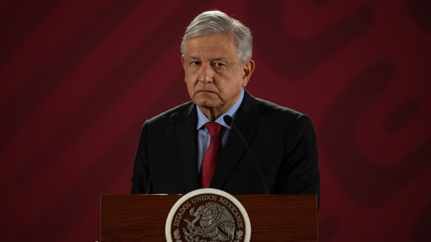 Mexican President Andrés Manuel López Obrador speaks during his daily morning press conference at the National Palace in Mexico City on March 26th, 2019.