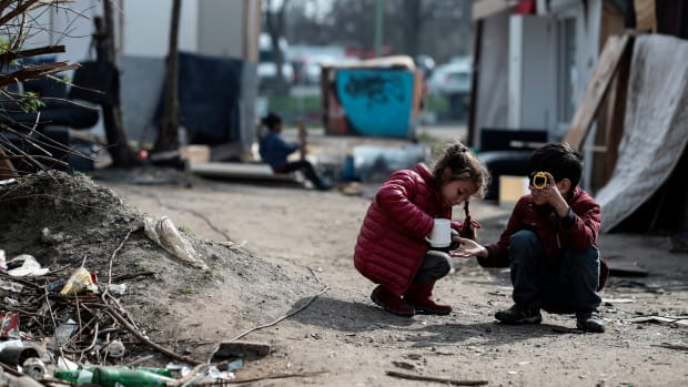 Children play in a camp of the Roma community that was attacked during the night of March 25th in Bobigny, near Paris, on March 27th, 2019. Ethnic Roma leaders called for around-the-clock police protection for their communities on March 27th in Paris after a series of vigilante attacks sparked by false reports of attempted kidnappings.