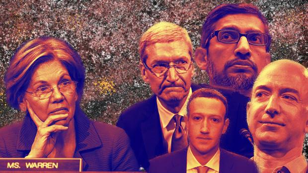 (Clockwise from left) Senator Elizabeth Warren, Tim Cook of Apple, Sundar Pichai of Google, Jeff Bezos of Amazon, and Mark Zuckerberg of Facebook.