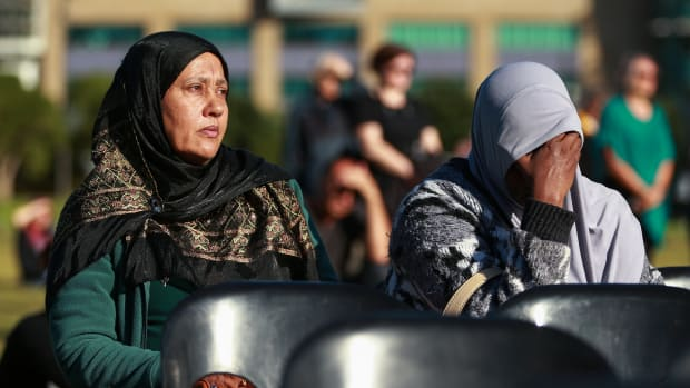 Guests and members of the public look on during a National Remembrance Service at Waitangi Park on March 29th, 2019, in Wellington, New Zealand. Fifty people were killed, and dozens were injured, in Christchurch on March 15th, when a gunman opened fire at the Al Noor and Linwood Mosques. The attack was the worst mass shooting in New Zealand's history.