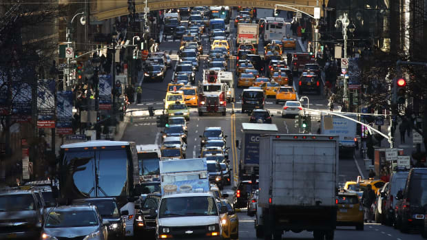 Traffic moves along 42nd Street in midtown Manhattan.