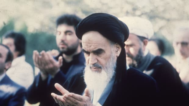 Ayatollah Ruhollah Khomeini (1900–1989), the Iranian religious and political leader.