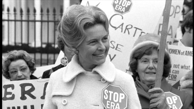 Anti-feminist activist Phyllis Schlafly demonstrates with other women against the Equal Rights Amendment in front of the White House in Washington, D.C., on February 4th, 1977.