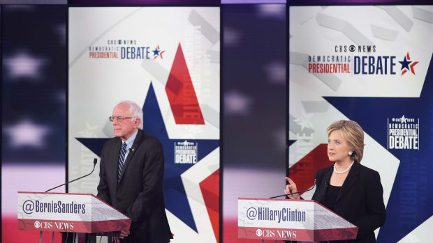 Hillary Clinton and Bernie Sanders during the second Democratic presidential primary debate in November of 2015.