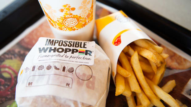 An 'Impossible Whopper' sits on a table at a Burger King restaurant on April 1st, 2019, in Richmond Heights, Missouri. Burger King announced on Monday that it is testing out Impossible Whoppers, made with plant-based patties from Impossible Foods, in 59 locations in and around the St. Louis area.