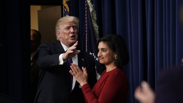 President Donald Trump and Centers for Medicare and Medicaid Services Administrator Seema Verma appear at the South Court Auditorium of the Eisenhower Executive Office Building on January 18th, 2018, in Washington, D.C.