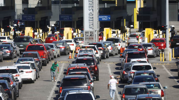 Cars line up to cross into the U.S. at the San Ysidro Port of Entry, one of the busiest land border crossings in the world, on the U.S.–Mexico border on March 31st, 2019, in Tijuana, Mexico.