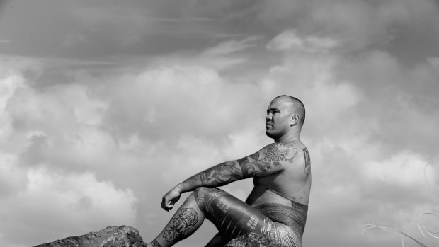 Jason Suttie displays his pe'a, a traditional Samoan tattoo in Auckland, New Zealand.