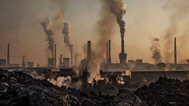 Emissions from a steel plant in China.
