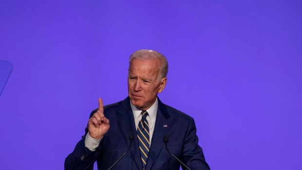 Former Vice President Joe Biden speaks at the International Brotherhood of Electrical Workers Construction and Maintenance conference on April 5th, 2019, in Washington, D.C.