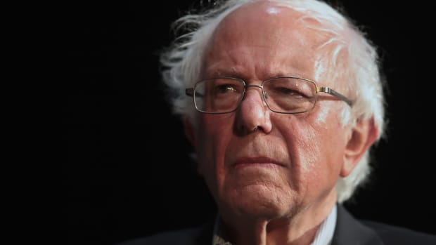 Senator Bernie Sanders (I-VT) at a campaign rally in Fairfield, Iowa, on April 6th, 2019.