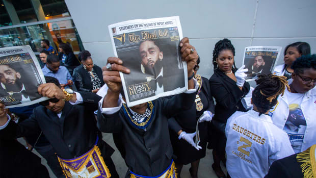 Masons attend a memorial celebration for slain rapper Nipsey Hussle at the Staples Center arena on April 11th, 2019 in Los Angeles, California. Fans filled the 21,000-seat arena to mourn the Grammy-nominated artist, who was shot and killed in front of his store, The Marathon Clothing, on March 31st, 2019 in Los Angeles.