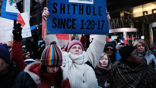 Hundreds of people, many of them Haitian, demonstrated against racism in Times Square on Martin Luther King Day on January 15th, 2018, in New York City. Across the country, activists, politicians, and citizens alike reacted to comments made by President Donald Trump that appeared to denigrate both Haiti and African nations.