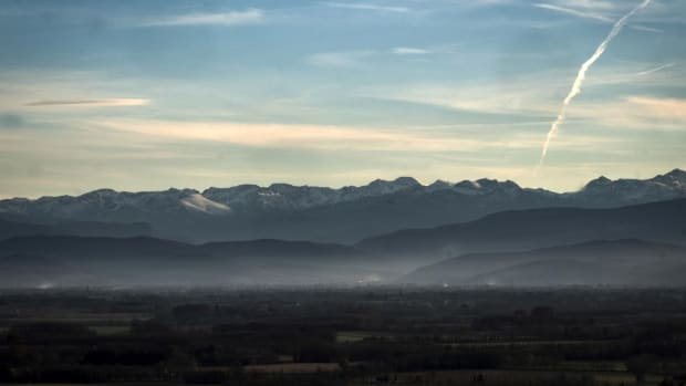 A picture taken on December 5th, 2018, shows the Pyrenees mountains, southern France, at sunset.