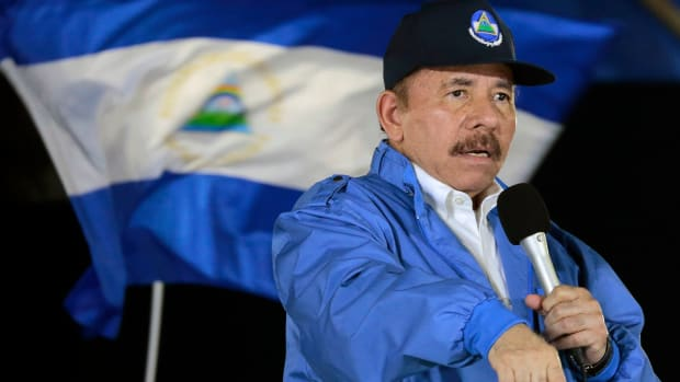 Nicaraguan President Daniel Ortega speaks to supporters.