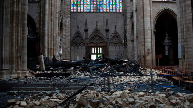 Debris is seen inside Notre Dame Cathedral in Paris on April 16th, 2019, a day after a fire that devastated the building in the center of the French capital.