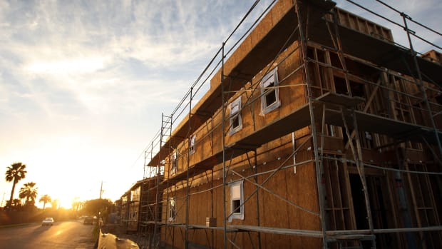 New townhouses under construction in California.