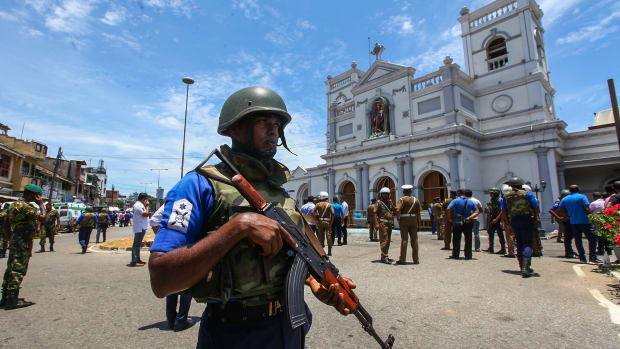 Sri Lankan security forces secure the area around St. Anthony's Shrine after an explosion hit St Anthony's Church in Kochchikade on April 21st, 2019 in Colombo, Sri Lanka.