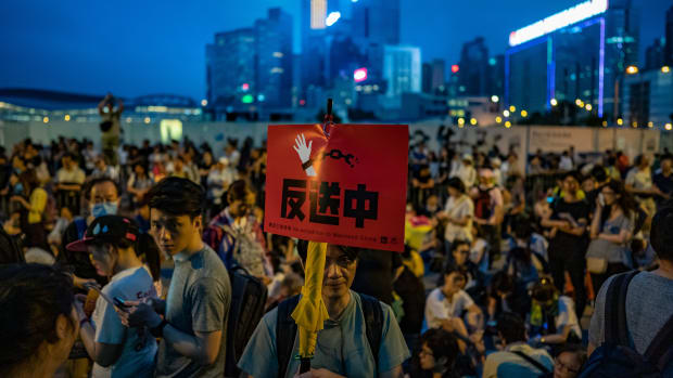 Protesters in Hong Kong march against the proposed extradition law, which would allow the territory to transfer crime suspects to mainland China for trial there, on April 28th, 2019.