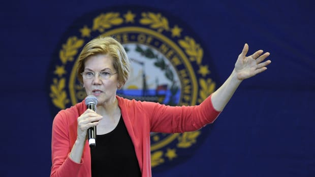 Senator Elizabeth Warren addresses an organizing event at Manchester Community College in Manchester, New Hampshire, on January 12th, 2019.