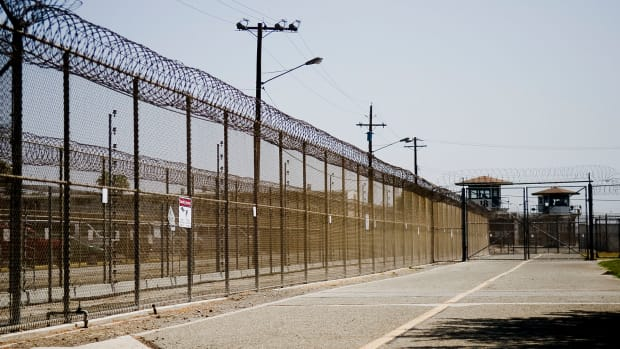 The California Institution for Men prison fence in Chino, California.