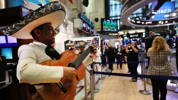 In celebration of Cinco de Mayo, a mariachi band performs on the floor of the New York Stock Exchange on May 3rd, 2019, in New York City. Stocks closed up nearly 200 points following news of a strong jobs report and other indicators showing signs that the global economy is healthier than previously expected.