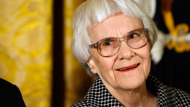Harper Lee before receiving the 2007 Presidential Medal of Freedom in the East Room of the White House on November 5th, 2007, in Washington, D.C.