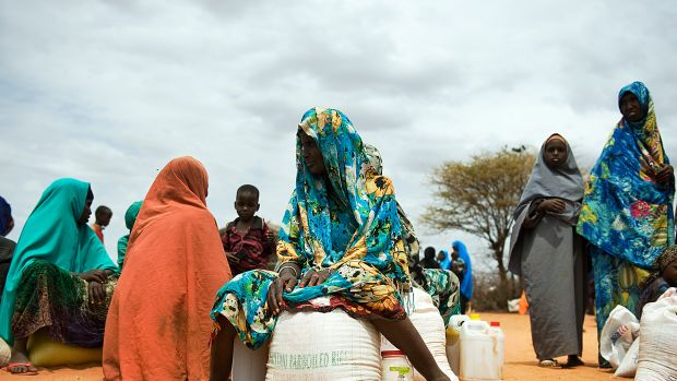Somali women guarding food supply