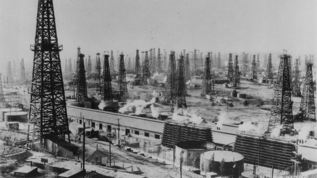 An oilfield of rotary derricks in 1938.