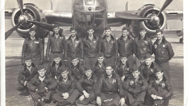 The author's Grandpa George (back row, second from right) during training at the Marine Corps Air Station in Cherry Point, North Carolina.