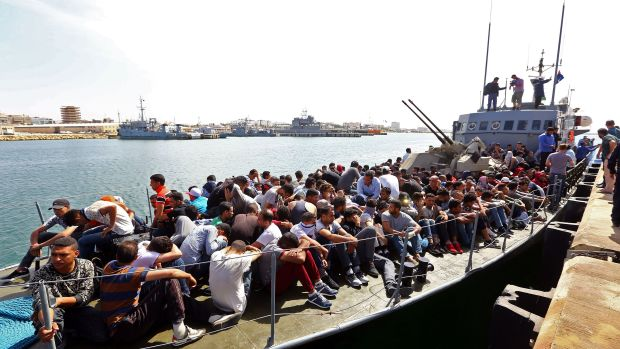 Illegal immigrants, who were rescued by the Libyan coast guard in the Mediterranean, arrive at a naval base in Tripoli, Libya, on May 10th, 2017.
