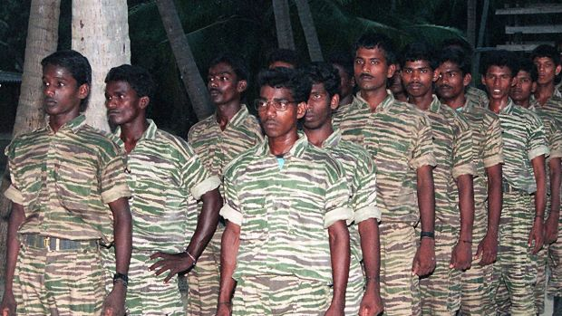 Tamil Tiger guerrillas in training camp.