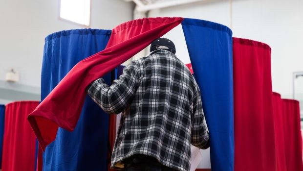 New Hampshire citizens cast their vote at Amherst Street Elementary School on November 8th, 2016, in Nashua, New Hampshire.