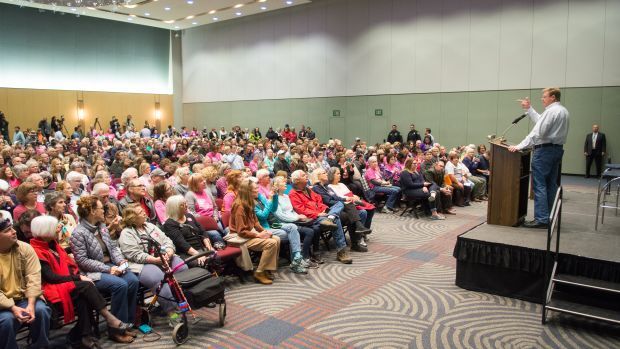Representative Mark Amodei (R-Nevada) speaks at a town hall inside the Reno-Sparks Convention Center on April 17th, 2017.