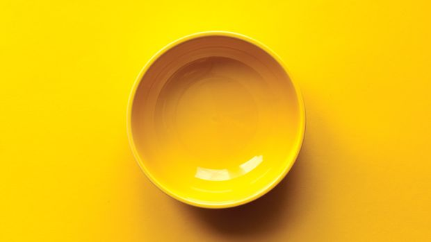 An empty yellow bowl.