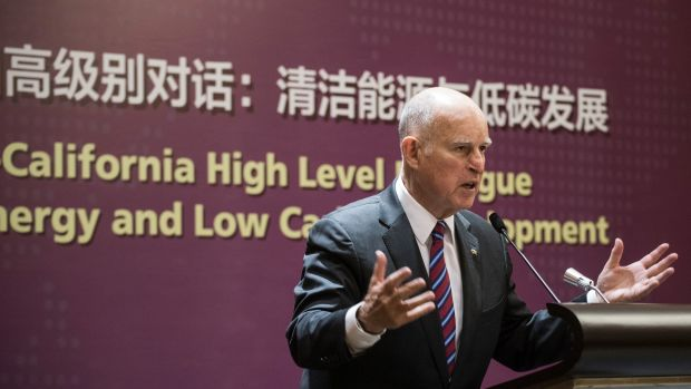 California Governor Jerry Brown speaks during an energy policy conference in Beijing on June 8th, 2017.