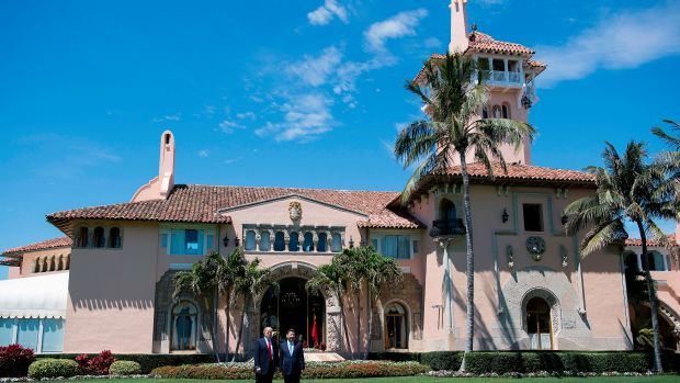 President Donald Trump and Chinese President Xi Jinping pose together at the Mar-a-Lago estate in West Palm Beach, Florida, April 7th, 2017.