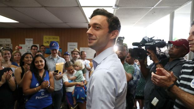 Democratic candidate Jon Ossoff visits a campaign office on June 19th, 2017, in Chamblee, Georgia.