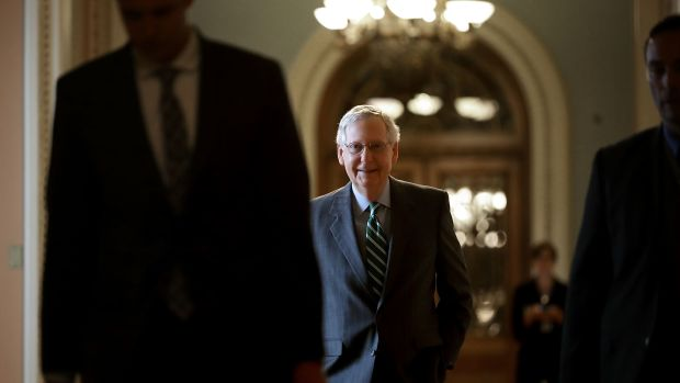 Senate Majority Leader Mitch McConnell arrives at the U.S. Capitol on June 22nd, 2017, in Washington, D.C.