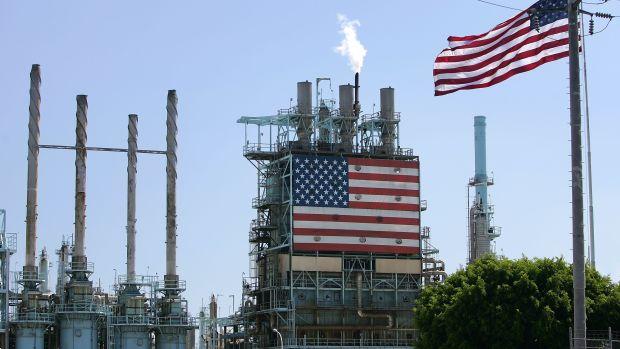 A BP oil refinery in Carson, California.