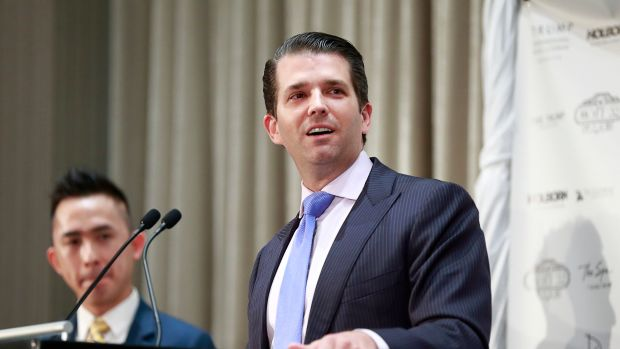 Donald Trump Jr. delivers a speech during a ceremony for the official opening of the Trump International Tower and Hotel on February 28th, 2017, in Vancouver, Canada.