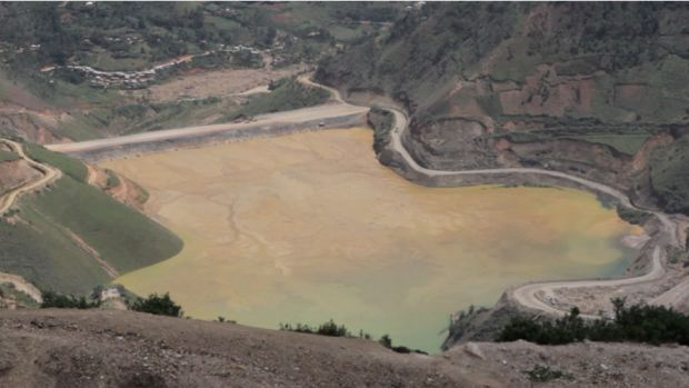 Contaminated water outside Luhwindja, Democratic Republic of Congo. Nearby residents have complained of many health problems since mining operations began.